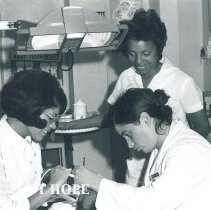 Image of Marta Flores, Barbara Kelly and counterpart in Dental clinic Jamaica IX.