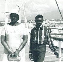 Image of Jason Whyte and his mother aboard the SS HOPE Jamaica Voyage IX.