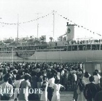 Image of SS HOPE sailing from Baltimore for Jamaica Voyage IX.