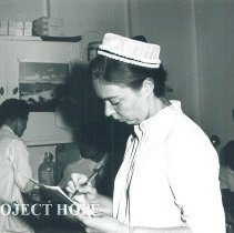 Image of Nurse Alice Zenick at outpatient clinic in Jamaica Voyage IX.