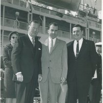 Image of Vice President Richard Nixon at Dedication of SS HOPE with Dr. Walsh, unkno