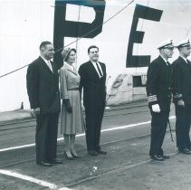 Image of Mrs. Pat Nixon and Dr. Walsh at the dedication of the SS HOPE.