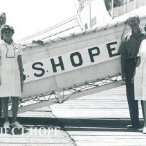 Image of Unknown and Stephan O'Driscoll on rt. of gangway in Jamaica Voyage IX.