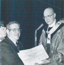 Image of Dr. Walsh receives Ordinis Sancti GregorII Magni Award in 1977.