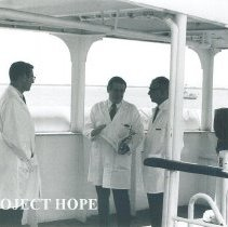 Image of Hal Royaltey, Dr Walsh and unknown  in Jamaica Voyage IX.