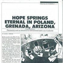 Image of Press - HOPE Springs Eternal in Poland, Grenada, Arizona December 1987 American Druggist, Practice of Pharmacy