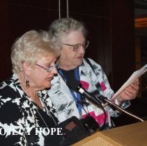 Image of Nancy Savage and Dolores Delcoma at the 50th reunion in 2008 in DC.