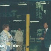 Image of Chuck Clark giving tours of the warehouse.