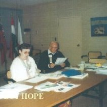 Image of Alumni board meeting with Judy Berner and Sam Kron at HOPE Center.