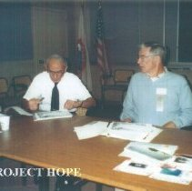 Image of Alumni board meeting at HOPE Center with Herbert Bloom, Hal Royaltey.