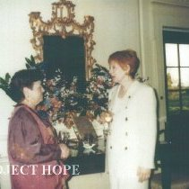 Image of Alumni board meeting at HOPE Center with Judy Berner and unknown.