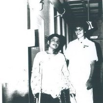 Image of Doris Biester with pediatric patient on the SS HOPE in Ceylon.