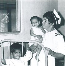 Image of Maureen Gallagher with Pediatric patient at Colombo General Hospital Ceylon