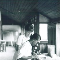 Image of Inge Hansen with counterprt in the Laboratory Kandy General Hospital in Cey