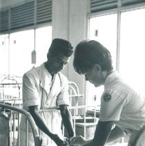 Image of Inge Hansen with counterpart drawing blood at Kandy General Hospital Ceylon