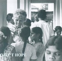 Image of Helen Walsh with Deaf students in Ceylon.