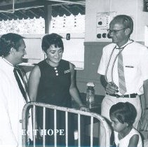 Image of l-r TDH Perera, Ann Arnzen and Clement Hiebert at Colombo General Hosp