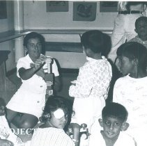 Image of Lilly Mallard with Pediatric patients on the SS HOPE in Ceylon.