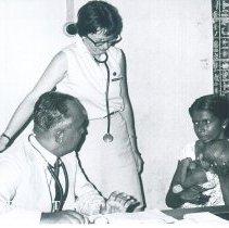 Image of Joanne Cornet and counterpart at Lady Ridgeway Hospital Colombo Ceylon.