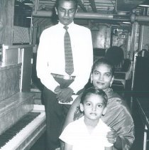 Image of Mr and Mrs Justin DeSilva and son on the SS HOPE in Ceylon.