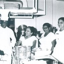 Image of Doc Campbell in diet kitchen on the SS HOPE in Ceylon.