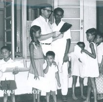 Image of Joseph Parks with counterpart at Lady Ridgeway Hospital in Ceylon.