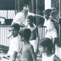 Image of David Godley on cleanup day at Maradana School in Ceylon.