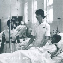Image of Diana Stafford with counterpart at Colombo General Hospital in Ceylon.