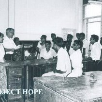 Image of Fred Miller with dental students in Kandy General Hospital in Ceylon.