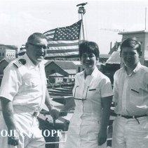Image of George Brady, Gladys Brady and David Brady arriving in Ceylon on SS HOPE.