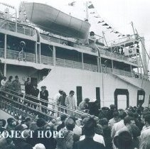 Image of Dockside crowd and debarkation from Colombo, Ceylon.