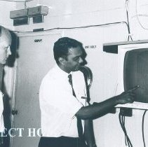 Image of M Corray and Morris Johnson on the SS HOPE in Ceylon.