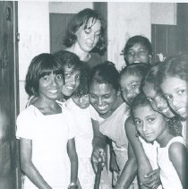 Image of Carol Curry on cleanup day at Maradana School in Ceylon.