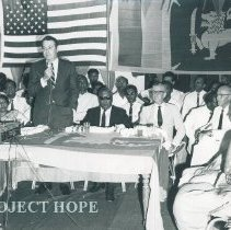 Image of William B Walsh addressing the crowd at the welcoming ceremony Ceylon.