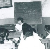 Image of Judith Wood holding a conference at Kandy General Hospital in Ceylon.