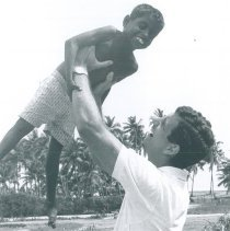 Image of Unknown with young Ceylonese boy in Ceylon.