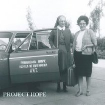 Image of Sister Charles Marie Frank, Virginia Sanchez and HOPE driver in Trujillo,Pe
