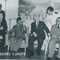 Image of William B Walsh, President Sukarno, Howard Jones, Ambassador on SSHOPE