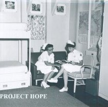 Image of Unknown nurses in a staff room on the SS HOPE in Indonesia 1960.