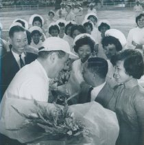 Image of William B Walsh bid farewell at completion of SS HOPE mission in Vietnam.
