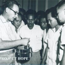 Image of Unknown sanitary engineer on the SS HOPE in Indonesia 1960.