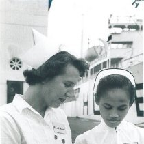 Image of Lottie Reich with counterpart on the SS HOPE in Indonesia 1960