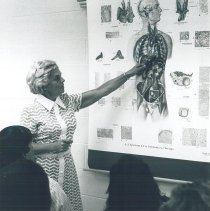 Image of Mary Schmidt lecturing at Laredo Junior College 1969.