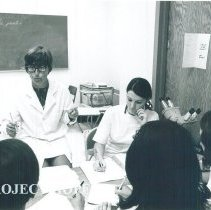 Image of Marie Zeuthen HOPE Med Tech teaching in Mercy Hospital in Laredo 1969.