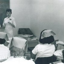 Image of Unknown HOPE nurse teaching class in Mercy Hospital Laredo, Texas 1969.
