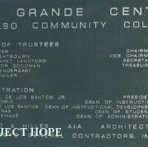 Image of Cornerstone of the Allied Health Center of EPCC with HOPE 1975.