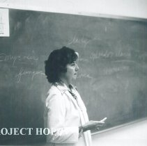Image of Project HOPE nurse Claire Renehan teaching OR students at EPCC 1970.