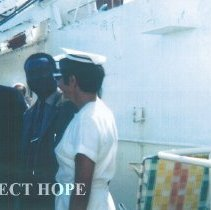 Image of William B Walsh and Dorothy Aschliman on the SS HOPE while in Guinea in 196