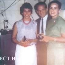 Image of Linda Cheney, Windy Rhodes and Marge Clenderin at Christmas Party 1964.
