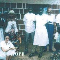 Image of Unknown nurse, Dr Reed on Kinda Immunization trip in Guinea 1964.
